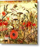 Poppies In Waving Corn Metal Print