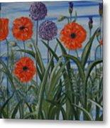 Poppies, Iris, Giant Alium Metal Print