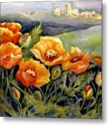 Poppies On A French Hillside Metal Print