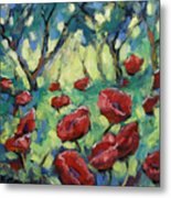 Poppies Through The Forest Metal Print