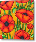 Poppies Under The Tuscan Sun Metal Print