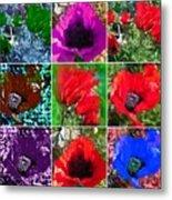Poppy Collage Metal Print