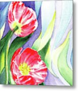 Poppy Couple Gentle Wind Metal Print