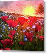 Poppy Fields At Dawn Metal Print