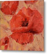 Poppy Flowers Handmade Oil Painting On Canvas Metal Print