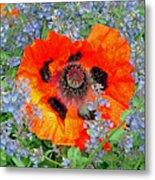 Poppy In Blue Metal Print
