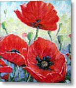 Poppy Love Floral Scene Metal Print