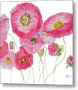 Poppy Painting On White Background Metal Print