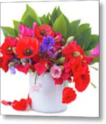 Poppy With Sweet Pea And Corn Flowers On White Metal Print