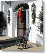 Porch At Boone Hall Plantation Charleston Sc Metal Print