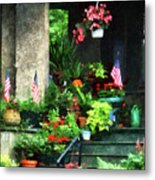 Porch With Geraniums And American Flags Metal Print