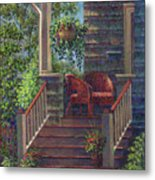 Porch With Red Wicker Chairs Metal Print