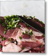 Pork meat with green garlik and knife Metal Print