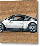 Porsche 911 Gt3r On Wood Metal Print