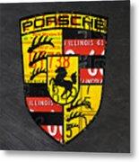 Porsche Sports Car Logo Recycled Vintage License Plate Car Tag Art Metal Print