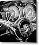 Porsche Super 90 Steering Wheel Emblem -1537bw Metal Print