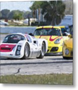 Porsches In The Corner At Sebring Raceway Metal Print