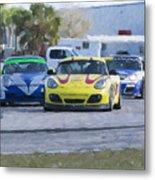 Porsches Rounding The Corner At Sebring Metal Print