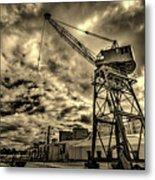 Port Crane At Sunset Metal Print