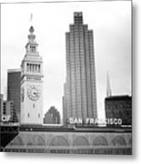 Port Of San Francisco Black And White- Art By Linda Woods Metal Print