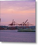 Port Of Seattle During Colorful Sunset Metal Print