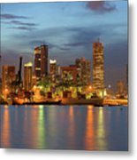 Port Of Singapore With City Skyline Metal Print