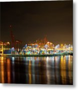 Port Of Vancouver Bc At Night Metal Print