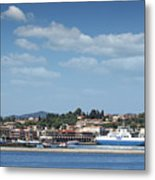 port with ferry boats Corfu Greece Metal Print