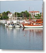 Port With Sailboat And Fishing Boat Metal Print
