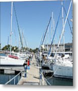 Port With Yacht  Metal Print