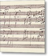 Portion Of The Manuscript Of Beethoven's Sonata In A, Opus 101 Metal Print