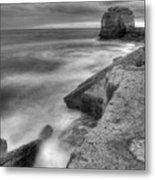 Portland Bill Seascape In Black And White Metal Print