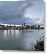 Portland City Downtown Cityscape During Evening Metal Print