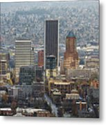 Portland City Downtown Cityscape Panorama Metal Print