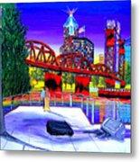 Portland City Lights 62 Over Fire Station #21 Metal Print