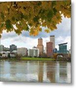 Portland City Skyline Under Fall Foliage Metal Print