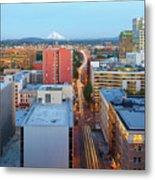 Portland Cityscape Along Morrison Bridge Metal Print