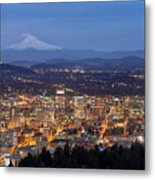 Portland Cityscape During Blue Hour Metal Print