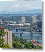 Portland Cityscape With Mount Saint Helens View Metal Print