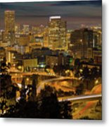 Portland Downtown Cityscape And Freeway At Night Metal Print