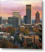 Portland Downtown Cityscape During Sunrise In Fall Metal Print