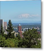 Portland Downtown Cityscape With Mount Saint Helens View Metal Print