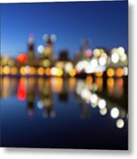 Portland Downtown Skyline Blue Hour Blurred Defocused Bokeh Metal Print