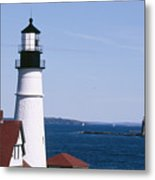 Portland Harbor Lighthouses Metal Print by George Oze