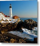 Portland Head Light - Lighthouse Seascape Landscape Rocky Coast Maine Metal Print