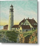 Portland Head Light At Sunrise Metal Print