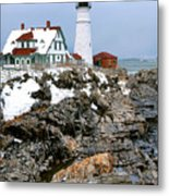 Portland Head Light In Winter Metal Print