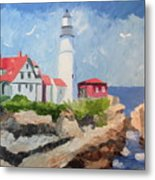 Portland Headlight By The Sea Metal Print