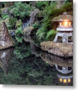 Portland Japanese Garden At Twilight Metal Print