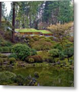 Portland Japanese Garden By The Lake Metal Print